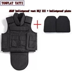 NIJ III volle körper rüstung Aramid fibers1000D nylon AK47 kugelsichere weste + kugelsichere bord 7,62x39 military weste colete balistico