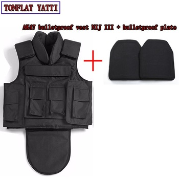 NIJ III armadura de cuerpo completo aramida fibers1000D nylon AK47 a prueba de balas chaleco + a prueba de balas de 7,62x39 chaleco militar colete balistico