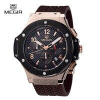MEGIR 3002G Chronograph Multifunction Men Sport Watch Silicone Army Gold Luxury Watch Men Top Brand Military