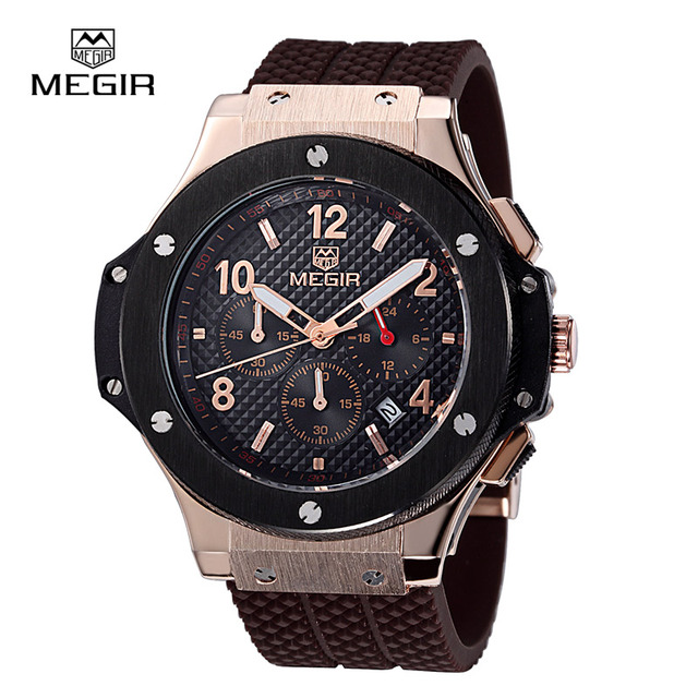 01c81583482 MEGIR 3002G Multifunction Chronograph Homens Relógio Do Esporte Silicone  Relógio de Ouro Assistir Homens Top Marca