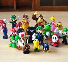 18PCS Super Mario Bros Yoshi Wario Action Figures Vinyl Doll Model PVC Toy Doll Mario Luigi