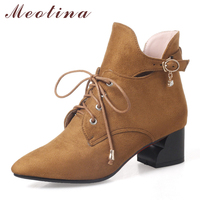 Meotina Women Boots Winter Buckle Thick Heel Western Boots Casual Lace Up Ankle Boots Zip Autumn Shoes Yellow Large Size 33-43