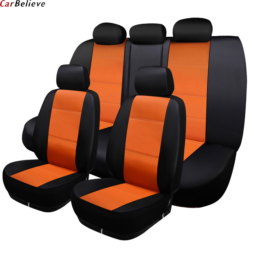 Car Believe leather car seat cover For mitsubishi pajero 4 2 sport outlander xl asx accessories lancer covers for vehicle seats car door stopper protection cover fit for mitsubishi asx outlander lancer accessories car sticker