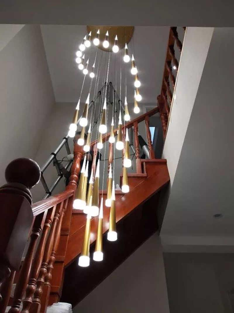 Cầu thang Treo Đèn Chùm Hiện Đại Cầu Thang Đèn Chùm Dài Cầu Thang Đèn Chùm Xoắn Ốc Cầu Thang Chiếu Sáng Treo Đèn