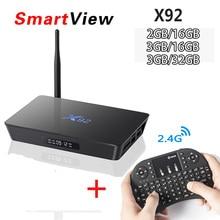 [Натуральная] X92 2 ГБ/3 ГБ 16 ГБ/32 ГБ Android 6.0 Умные телевизоры Box Amlogic S912 Восьмиядерный Коди 16.1 полностью загружен 5 г Wi-Fi 4 К медиаплеера