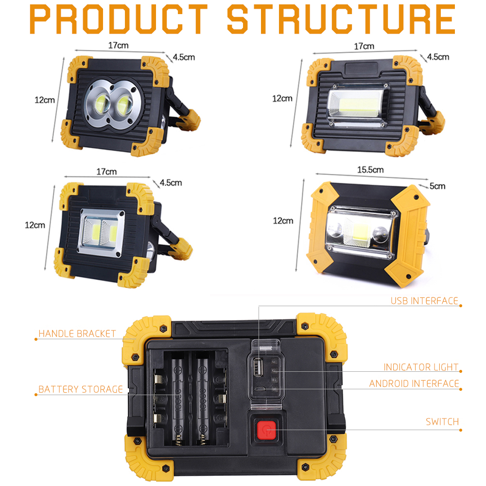 100W Led Portable Spotlight 3000lm Super Bright Led Work Light Rechargeable for Outdoor Camping Lampe Led Flashlight by 18650 2