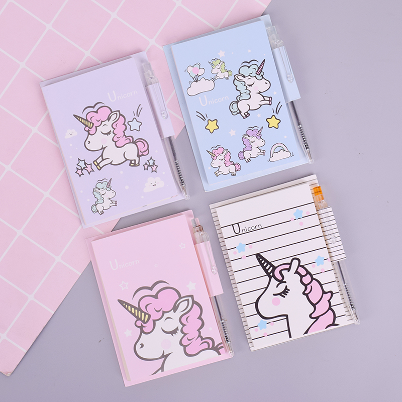 New Cartoon Unicorn + Pen Notebook Mini Portable Week Planner Diary Notepad Stationery School Supplies 50 Page