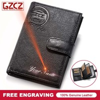 GZCZ Men Genuine Leather Wallet Travel Passport Cover Bag Case Holder Credit Card Holder Coin Purse