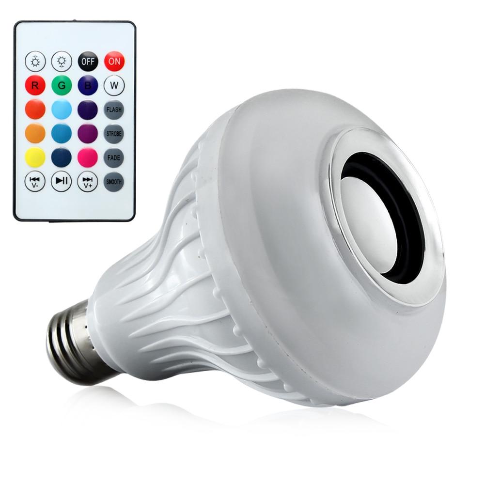 Smart Wireless Bluetooth Speaker Bulb 12W E27 RGB LED Music Bulb Playing Dimmable W/ 24key Remote Control