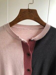 Image 3 - Cárdigan de tres colores 2019 otoño e invierno, nuevos modelos de temperamento, cárdigan tejido de manga larga, suéter de mujer
