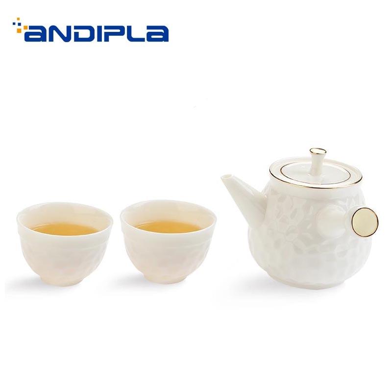 Set de thé en porcelaine blanche 2 tasses à thé + 1 Kit de théière/ensemble de thé chinois Kung Fu Drinkware Master petit bol café Pot de lait bouilloire