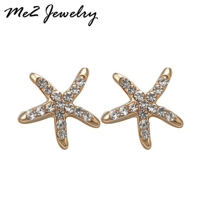 New Statement Trendy Silver Plated Gold Starfish Stud Earrings For Women Earings Fashion Jewelry Whole