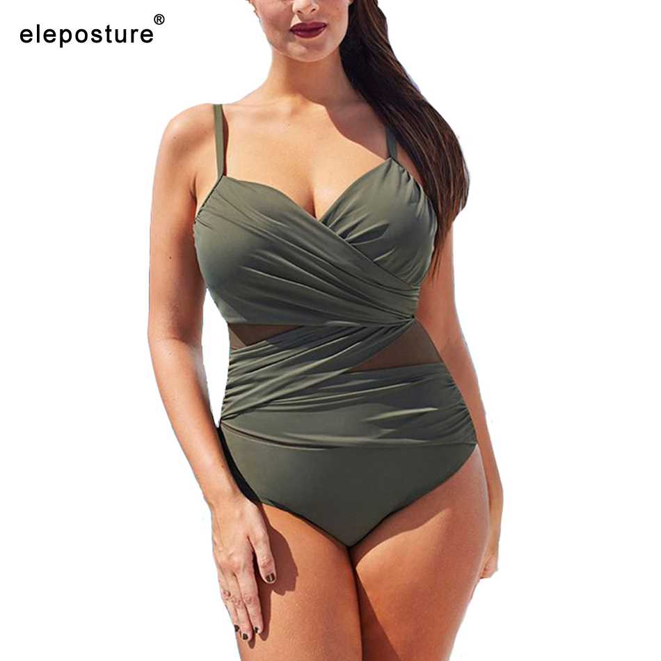 2020 New Sexy One Piece Swimsuit Women Mesh Patchwork Bathing Suits Vintage Swimwear Summer Beach Wear Swim Suit Plus Size M-4XL