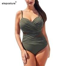 2020 חדש סקסי חתיכה אחת בגד ים נשים Mesh טלאים וינטג בגדי ים קיץ החוף ללבוש לשחות חליפה בתוספת גודל m 4XL