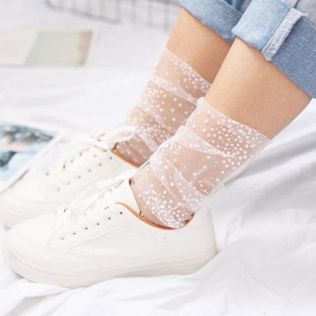 Nouveau maille Tulle chaussettes pour femmes été mince Transparent impression chaussettes Long flocon de neige chaussettes drôles robe féminine bonneterie 2 couleurs