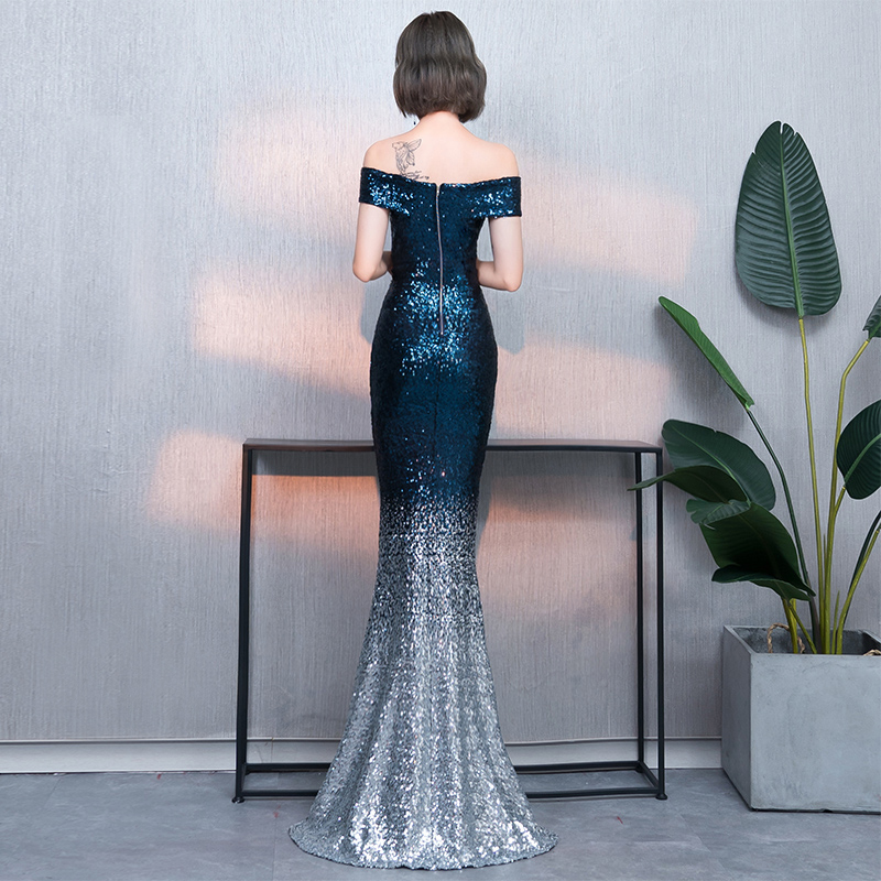Boat Neck Silver Sequins Party Evening Dress Short Sleeve Sexy Long Evening Dress Robe De Soiree
