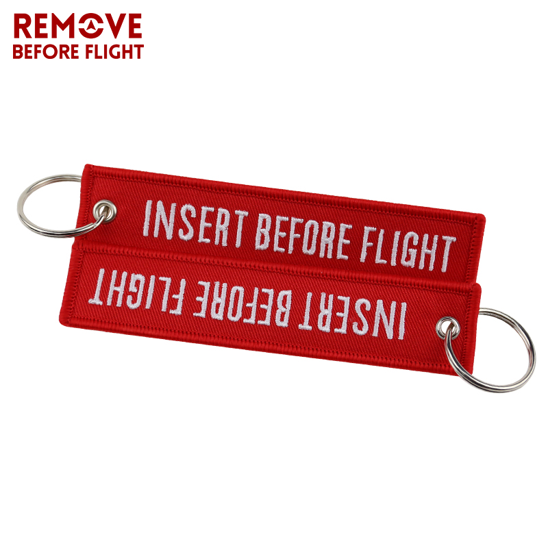 Fashion Jewelry Keychain for Motorcycles and Cars OEM Key Chains Red Embroidery Key Fobs INSERT BEFORE FLIGHT  Key Chain Tag (7)
