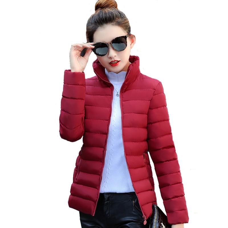 Stand Collar Women   Basic     Jacket   Winter Slim Solid Autumn Womens Winter   Jackets   Short Ladies Coat Jaqueta Feminina Inverno 201830