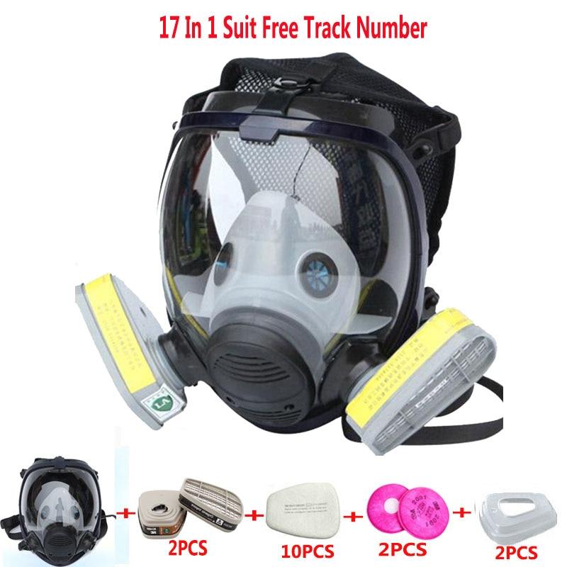 17 En 1 traje pintura pulverización química respirador mismo para 3 M 6800 máscara de gas completa Cara pieza respirador