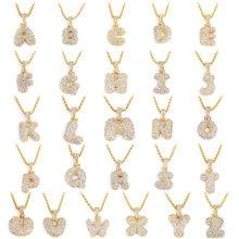 Пользовательское имя Bubble буквы ожерелья и кулон цепи для мужчин женщин золото серебро Цвет кубический циркон хип хоп Ювелирные изделия Подарки