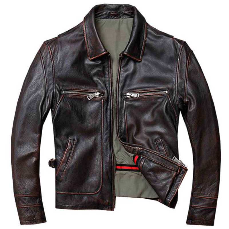 Old Fashion US Mens Cow Leather Jacket Trench Coats Automotive Mans Genuine Leather Jacket High Street Overcoats Streetwear A788(China)