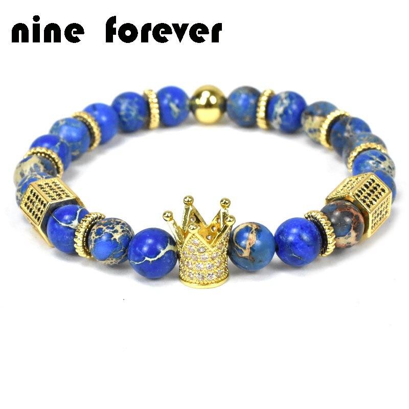 Neun für immer naturstein perlen armband männer schmuck krone charme armbänder für frauen pulseira masculina erkek bileklik Mujer