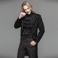 2017 Devil Fashion Gothic Black Men Dress Jacket Coat Steampunk Gentlemen Open Stitch Long Jacket Trench Evening Party Jackets