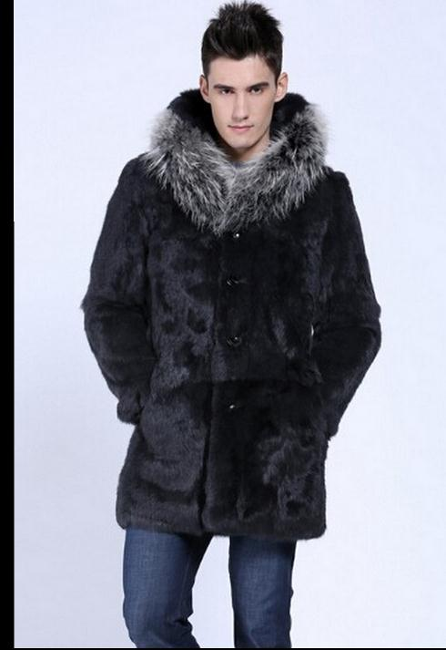 Single Breasted Winter Long Herre Hooded Overcoats Faux Fur Jackets - Herretøj - Foto 3