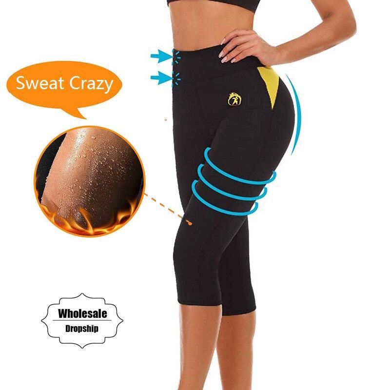 NINGMI Slim Pants Tummy Control Panties Slimming Short Neoprene Sweat Body Shaper Workout Waist Trainer Butt Lifter Tight Capris