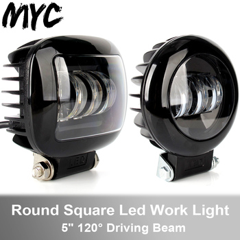 6D Lens 5 Inch 30W Round Square Flood Beam Led Work Light For Motorcycle SUV Car 4x4 Truck Offroad 12V Fog Lights