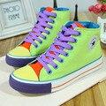 Горячей продажи женщин Вулканизации Обуви цвет блока украшения шнуровкой холст обувь низкий разноцветные сладкие конфеты цвет повседневная обувь