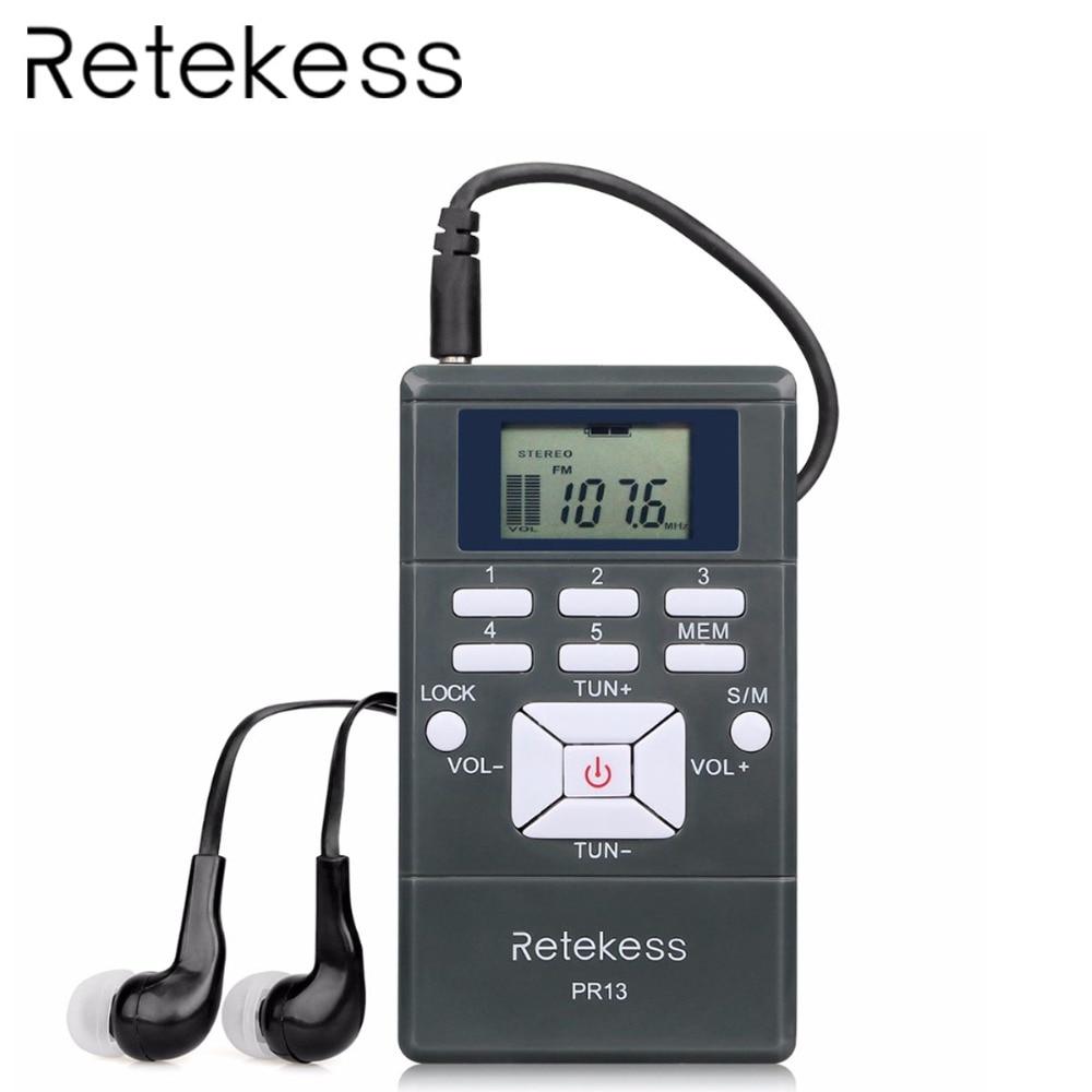 RETEKESS PR13 Radio Receiver FM Stereo Portable Radio DSP Mini Digital Clock Receiver For Tour Guide Simultaneous Interpretation