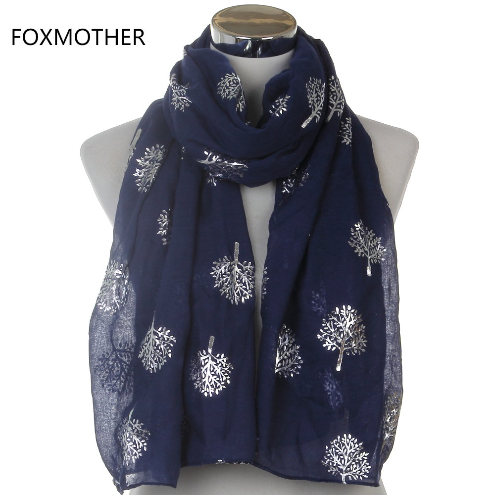 Dropshipping 2019 New Spring Summer Fashion Ladies White Navy Bronzing Silver Metallic Tree Glitter Scarf Scarves Gifts