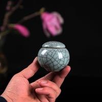 Tea Beauty New Top Grade Mini Crackle Glaze Longquan Celadon Ceramics Eco Friendly Tea Caddy Tea