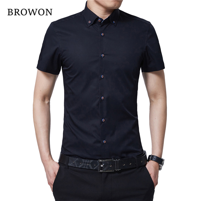 Us 12 59 40 Off Browon Korean Men Fashion Summer Shirt Short Sleeve Dress Turn Down Color Business Formal For Man Brand Clothes In