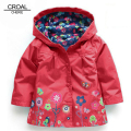 80-130cm 2017 Spring Kids Jacket Girls Trench Coat Beautiful Flower Windbreaker Waterproof Children Outerwear & Coats Clothes