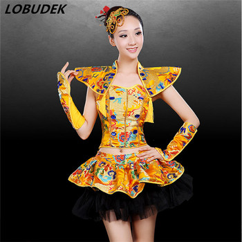 Chinese Style Female Costume Gold Red Blue Embroidery Tops Shorts 2-Pieces Set Performance Dance Outfit Team Show Stage Wear