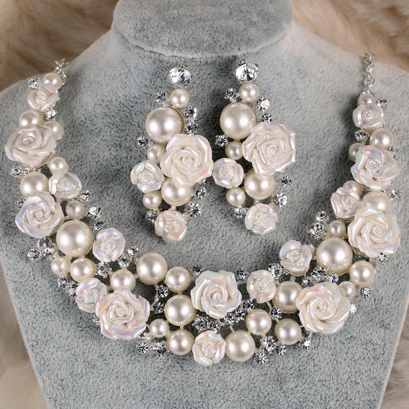 TREAZY Gorgeous Ceramic Flower Ivory Pearl Crystal Bridal Wedding Jewelry Set Fashion Necklace Earrings Set Women Jewelry