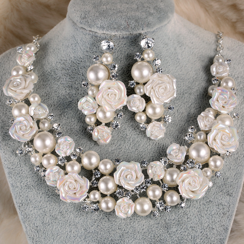 TREAZY Gorgeous Ceramic Flower Ivory Pearl Crystal Bridal Wedding