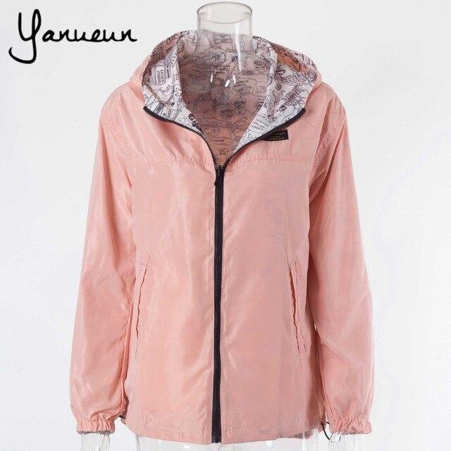 2016 Autumn Fashion women Pocket Zipper hooded two sides wear lady  Cartoon  outwear Bomber Basic Jacket