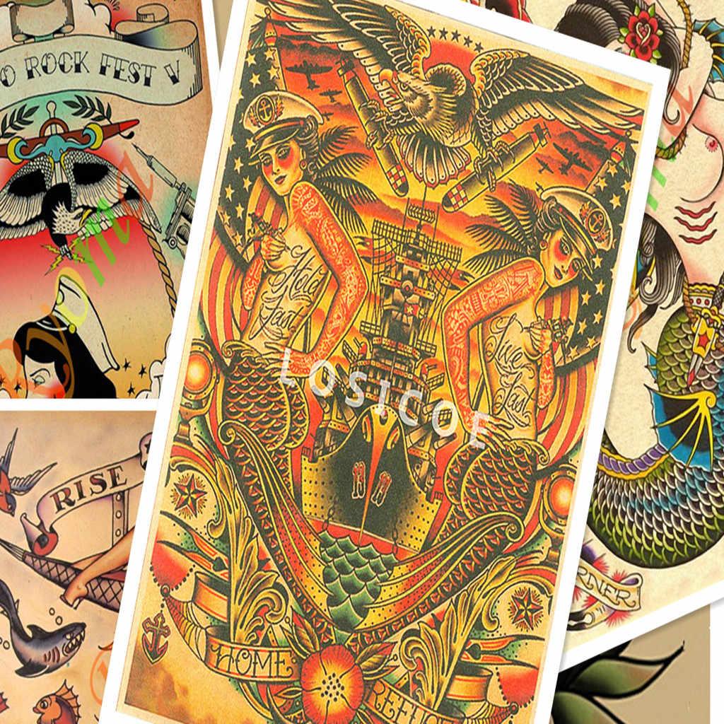 Креативный рисунок татуировки Рукопись ВИНТАЖНЫЙ ПЛАКАТ на крафт-бумаге настенные наклейки, живопись боди-арт тату Парикмахерская украшение E