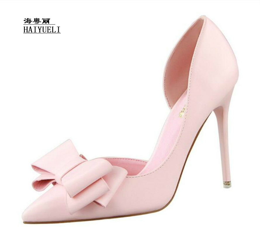 Women Pumps Fashion Sexy Lovely Bowknot Thin Heel High-heeled Pointed Shoes Career Shoes Women Sandals