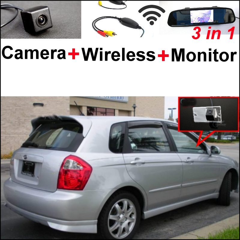3 in1 Special Camera + Wireless Receiver + Mirror Monitor Easy DIY Parking System For KIA Sephia Sephia5 LD Hatchback 2003~2009 wireless pager system 433 92mhz wireless restaurant table buzzer with monitor and watch receiver 3 display 42 call button