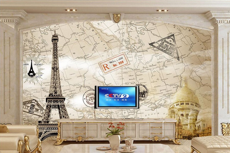 Large murals,Classic European tower map wallpaper,living room sofa TV wall bedroom 3d wall murals wallpaper papel de parede european church square ceiling frescoes murals living room bedroom study paper 3d wallpaper