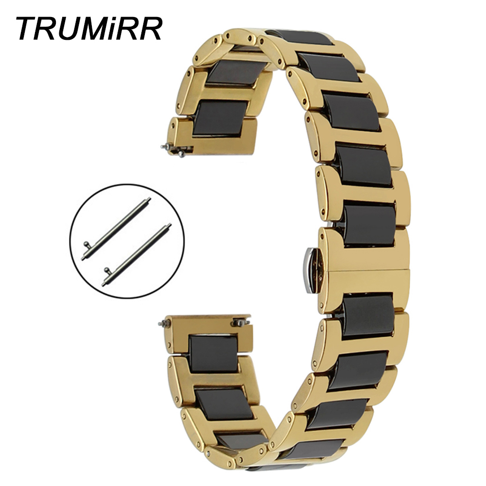 Ceramic + Stainless Steel Watchband Universal Quick Release Watch Band Butterfly Clasp Wrist Strap 12mm 14mm 16mm 18mm 20mm 22mm 16mm ceramic