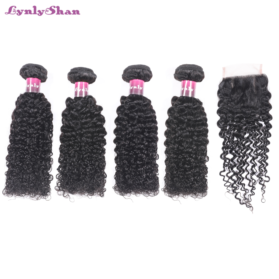 Lynlyshan Hair Brazilian Afro Kinky Curly Human Hair Weave Remy Hair 4 Bundles With Closure 4*4 Free Middle Three Part