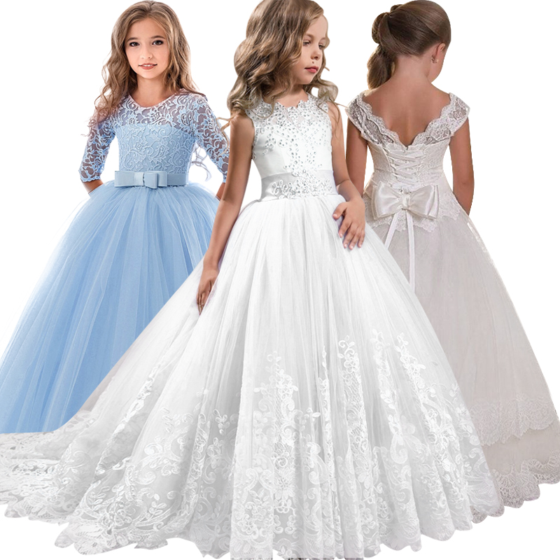 2019 new lace wedding holy   dress   the   flower     girl   bow tie the tennis party the banquet party show ball   dress   vestidos de fiesta