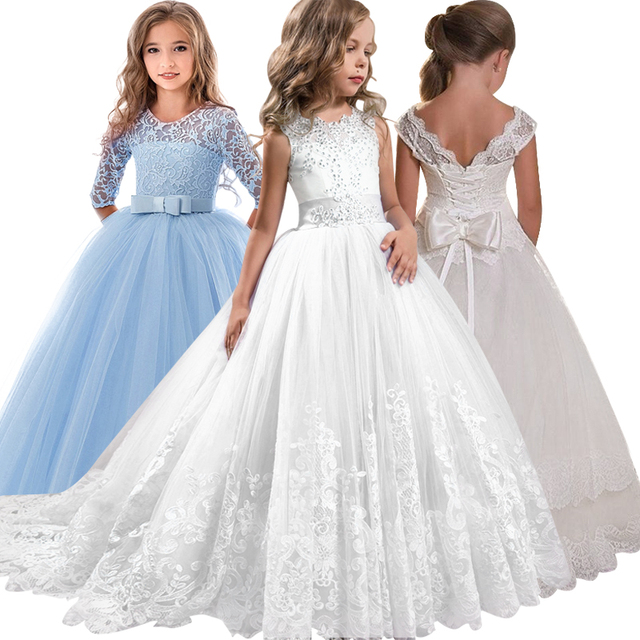 2019 nova santo vestir o vestido de casamento da menina de flor do laço arco amarrar o festa da festa banquete show de bola de tênis vestido vestidos de fiesta