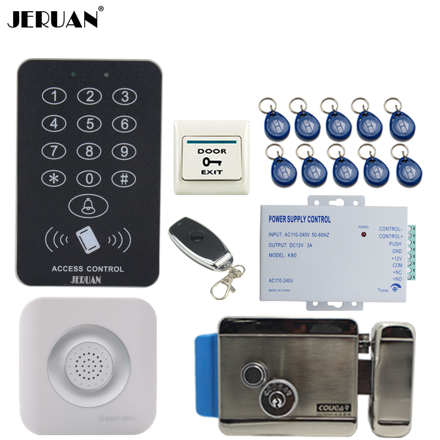 JERUAN New RFID Access Controller Door control system kit +Remote control + Exit Button + Electric Control lock +Doorbell