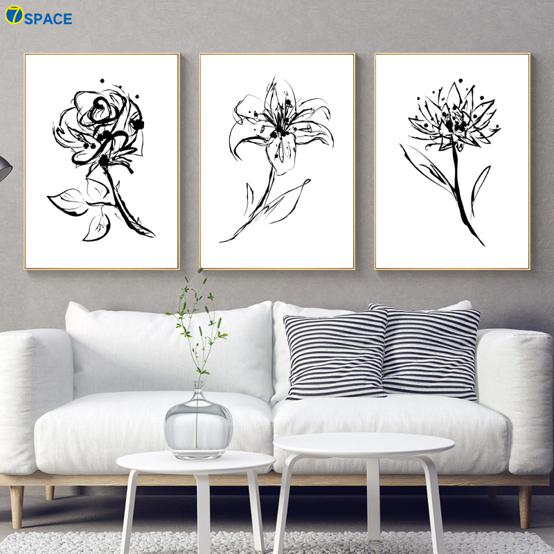 Black And White Flower Plant Art Prints Nordic Posters Wall Canvas Painting Pictures For Living Room Decor